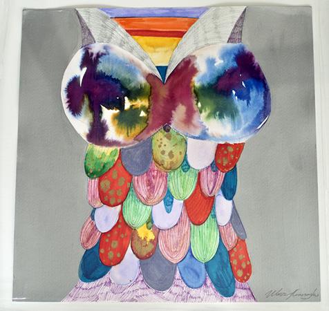 Woozy, Ancient hippie, 2013, pen, pencil, ink on paper, 45x45cm