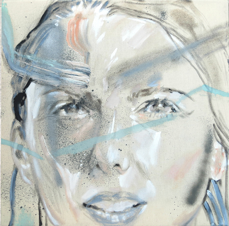 Yeorgia Karidi, Untitled (grlos at.5), 2013, acrylic, spray on unprimed canvas, 40x40cm