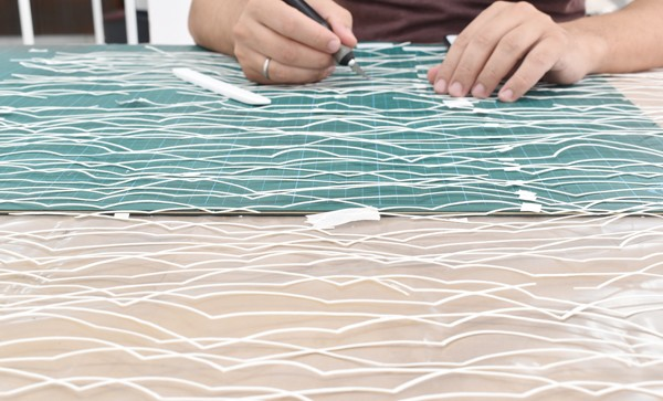 Lefteris Tapas, Sea, 2019,  Handmade cut out paper, 200x140cm Courtesy of CAN Christina Androulidaki gallery