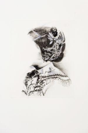 Marianna Ignataki, Ornamented Head I, 2016,  watercolor, pencil and pastels on paper, 39x28cm, detail