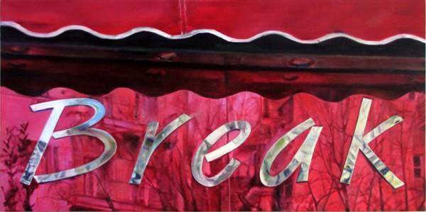 Sotiris Panousakis, Break, 2016, oil on canvas, 140x70cm