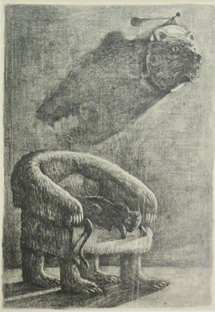 Diamantis Sotiropoulos, The Bear Chair, The Punishment series, 2013, graphite on paper, 21x29,7m