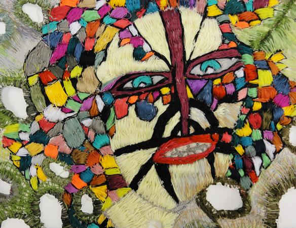 Zoi Gaitanidou, Untitled, 2013, Embroidery on canvas, 35x47cm_detail