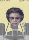Emmanouil Bitsakis, Beethoven, 2012 acrylics on cardboard, 12x9cm