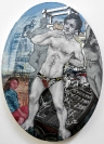 Emmanouil Bitsakis, The Demolition of the Colossus of Rhodes, 2020, Acrylics on canvas, 22,5x16,5cm, Courtesy of the artist and CAN Christina Androulidaki gallery, Athens