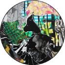 John Kleckner, Wave Of Mutilation, 2014, Ink, acrylic, gouache, paper collage on Vinyl record, D 30cm
