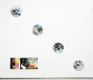 John Kleckner, Ink, acrylic, gouache, paper collage on Vinyl record, Installation View
