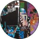 John Kleckner, Celestrial Terrestrial Commuters, 2014, Ink, acrylic, gouache, paper collage on Vinyl record, D 30cm