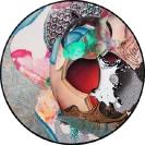John Kleckner, Seen And Not Seen, 2014, Ink, acrylic, gouache, paper collage on Vinyl record, D 30cm