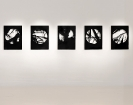 Lefteris Tapas, Untitled (Cave), 2011, tar and acrylics on cut paper, 79x59cm, installation shot