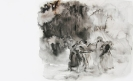 Marianna Ignataki, Come to me 1 (dancing in the forest) 2014, 33x56cm, watercolor on paper