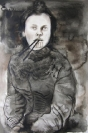 Marianna Ignataki, Woman with chopsticks, 2014, 52x36cm, watercolor and pencil on paper