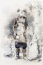 Marianna Ignataki, Study Of A Hairman Standing Still (The Jungle), 2016, watercolor, pencil, colored pencil and pastel on paper, 56x38cm