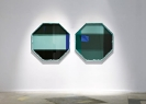 :mentalKLINIK, Liar (Duo)-1104, 2011, Glass, micro-layered polyester films, anodized aluminium, liquid polymer resin, 123x123cm each
