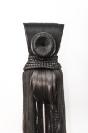 Marianna Ignataki, Xiǎo Dòng 洞 小 The Little Hole (The Cave), 2017, wig, synthetic hair, fabric, thread, metal base, 129x16x12cm detail 03 front