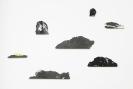 Lefteris Tapas, Archipelago, 2019, Installation made of 7 islands, paper pulp, graphite, natural earth pigments, brass shelf, various sizes, Unique