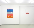 Tula Plumi, Untitled, Lines and circles series, 2012, spray paint on metal sheet, 70x100cm and 60x37x10cm