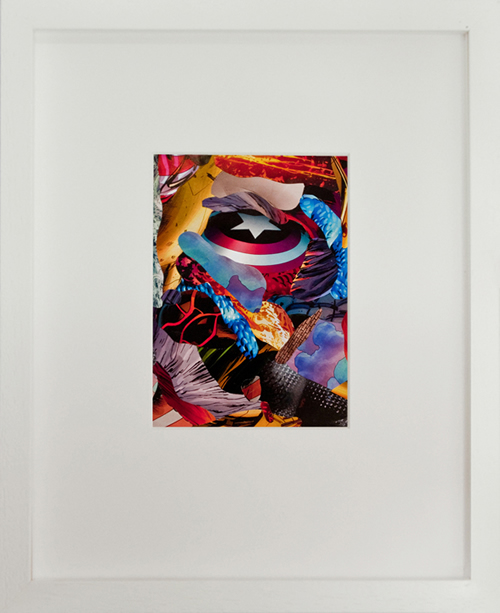 STAMKOPOULOS Captain America VS Red Skull Collage on Paper 32x26framed 2012 copy
